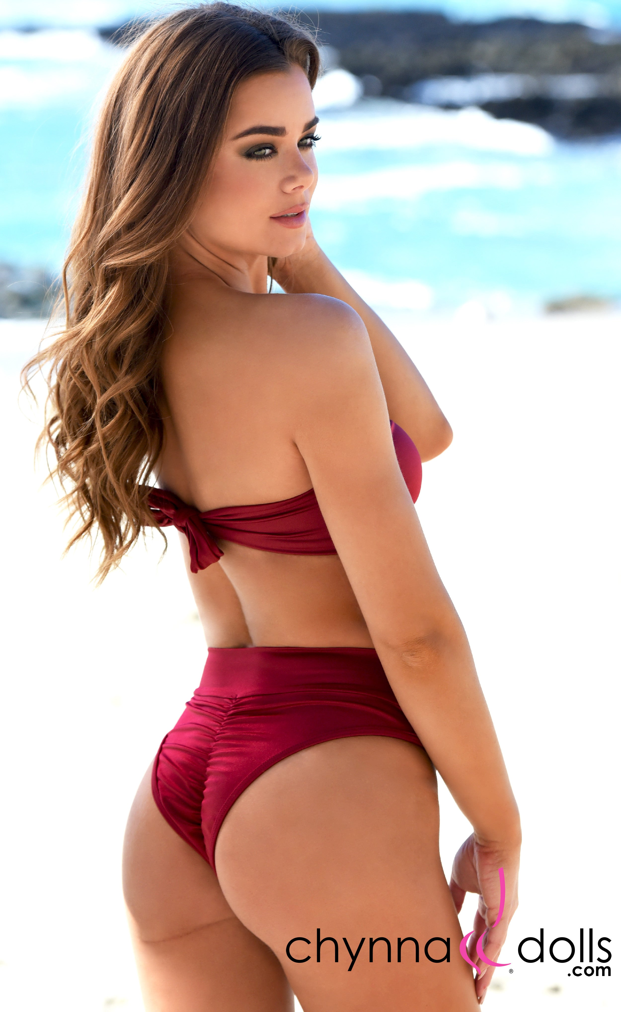 Soho: High Waisted Bottom w/ 2 Top Option in Wine - Chynna Dolls