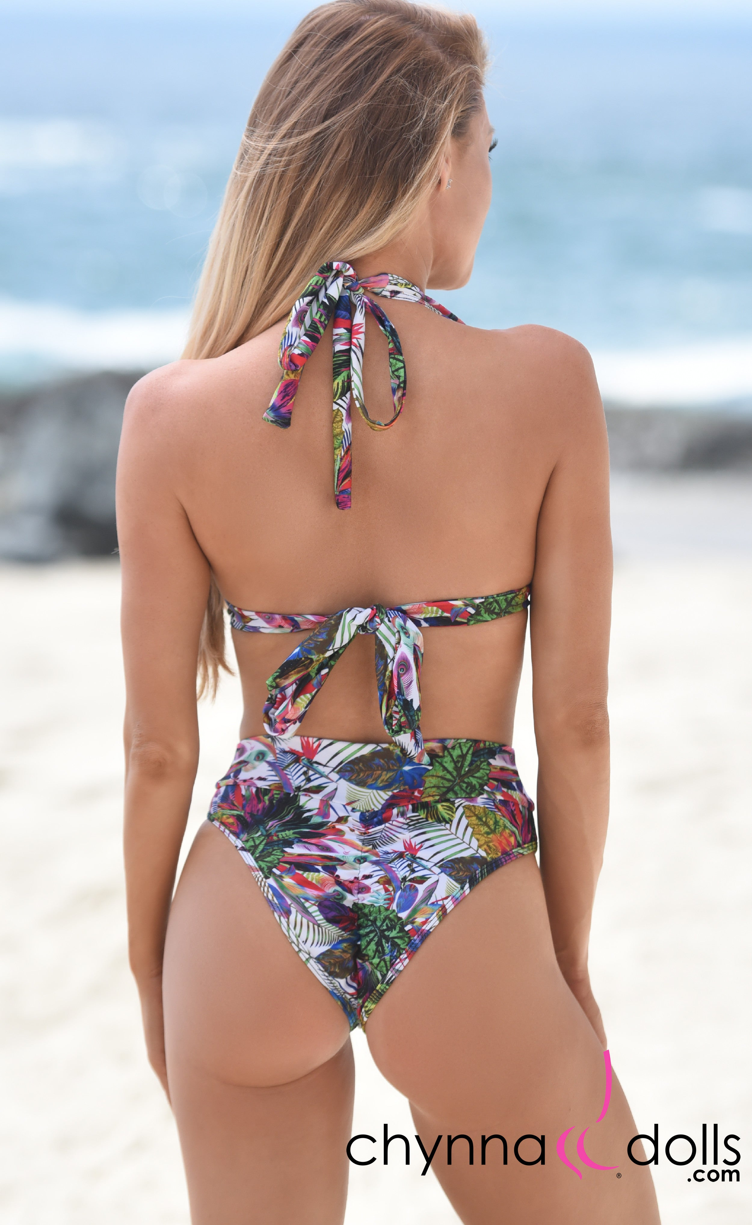 Soho: High Waisted Bottom w/ 2 Top Option in Chynna Dolls Exclusive Tropical Print