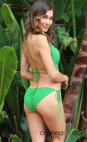 CABO: Crochet One Piece Swimsuit in Green
