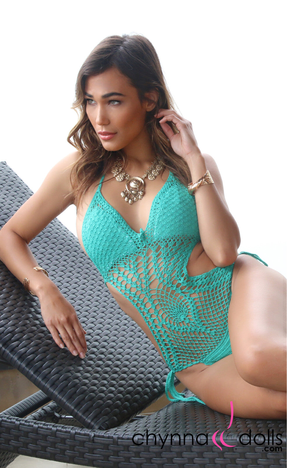 CABO: Crochet One Piece Swimsuit in Lagoon Green - Chynna Dolls