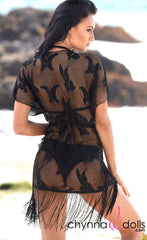 Jenna: Lacey Fishnet Fringe Kimono Cover-up in Black - Chynna Dolls Swimwear