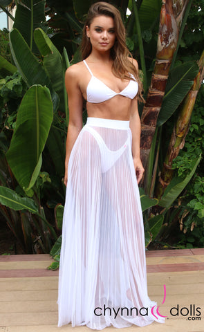 BLAIR: Long Maxi Skirt Mesh Tulle Cover Up in White
