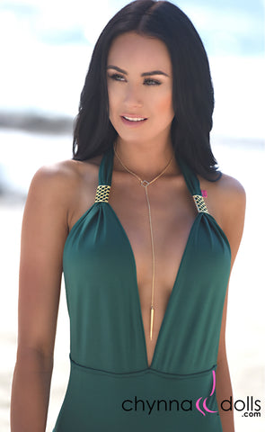 NECKLACE: Pull through necklace in Gold - Chynna Dolls Swimwear