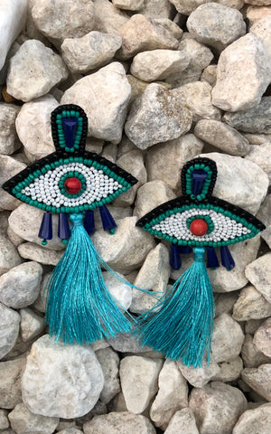 Earring: Evil Eye Beaded Tassel Earrings in Teal - Chynna Dolls Swimwear