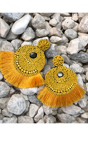 Earring: Round Beaded Tassel Earrings in Yellow - Chynna Dolls