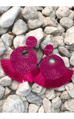 Earring: Round Beaded Tassel in Fuchsia Pink