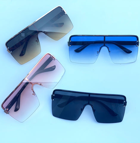 Sunglasses: Frameless Oversized Sunnies - Chynna Dolls Swimwear