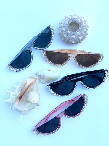Sunglasses: Rhinestone Cat Eye Sunnies - Chynna Dolls Swimwear
