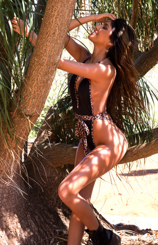 London: High Cut One Piece in Black w/ Leopard Scarf - Chynna Dolls Swimwear