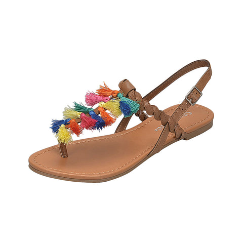 Lucia: Flat Sandal with Multi Colored Tassel