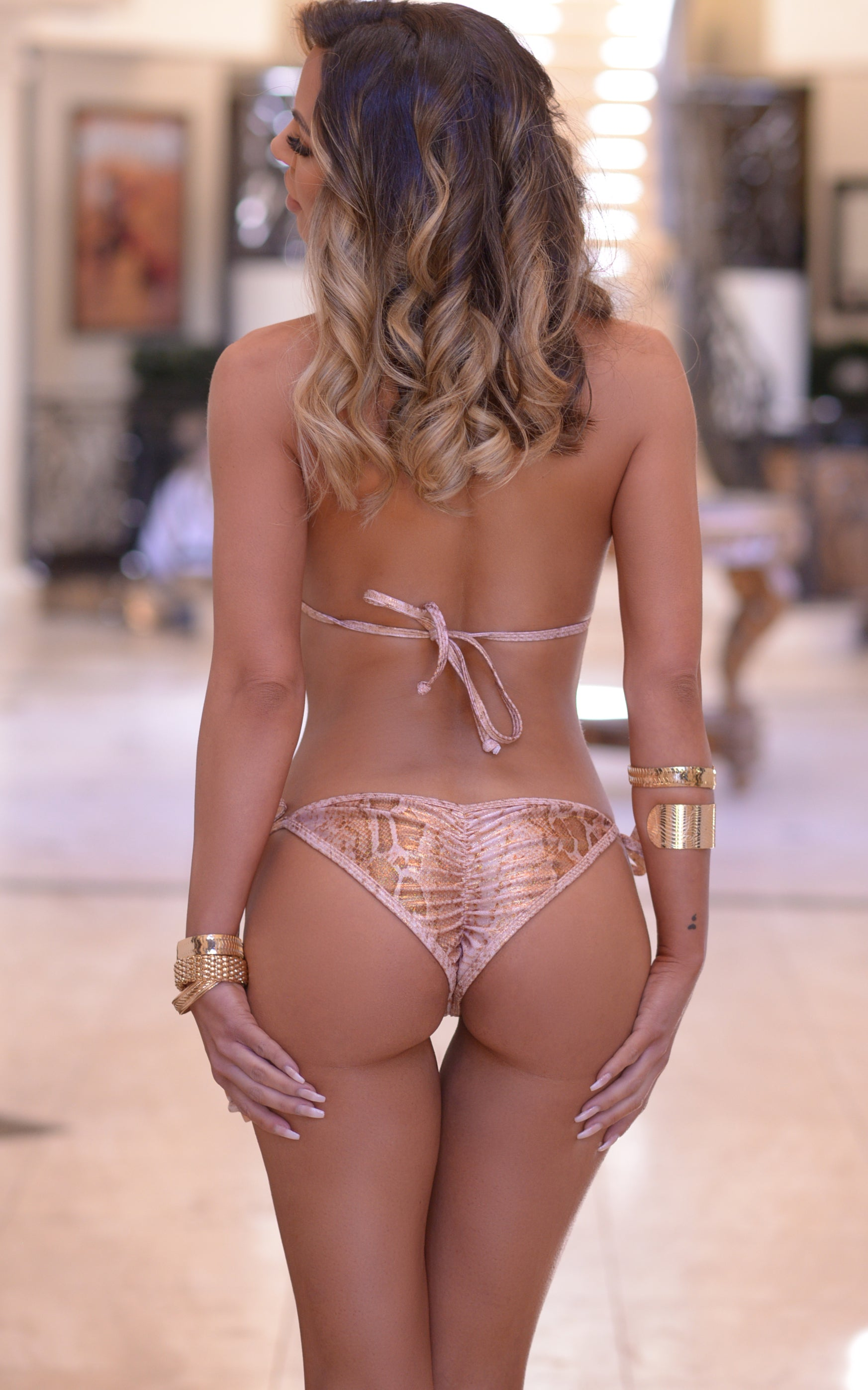 Laguna: String Bathing Suit in Hologram Snake - Chynna Dolls Swimwear