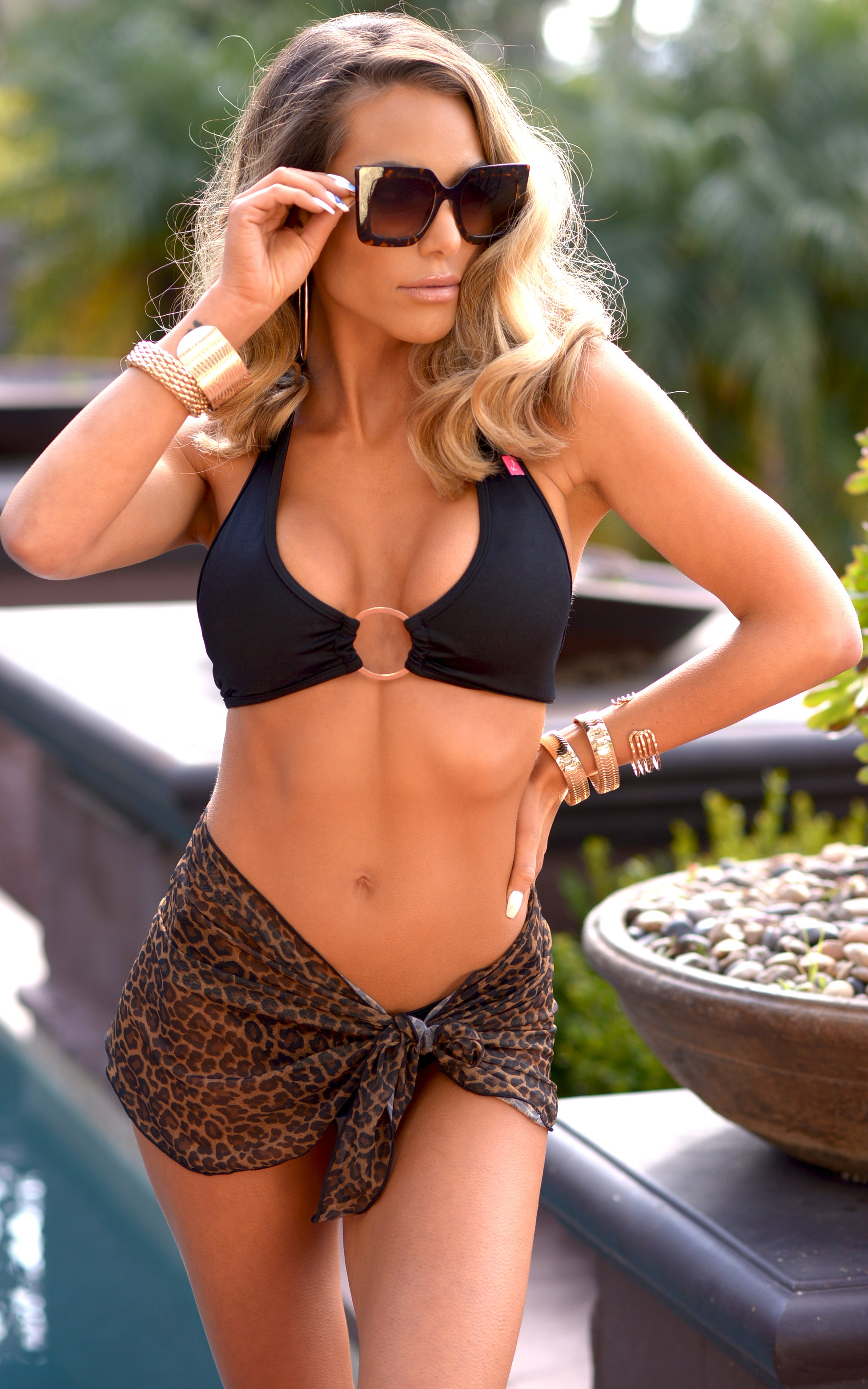 Short Mesh Sarong in Leopard - Chynna Dolls Swimwear