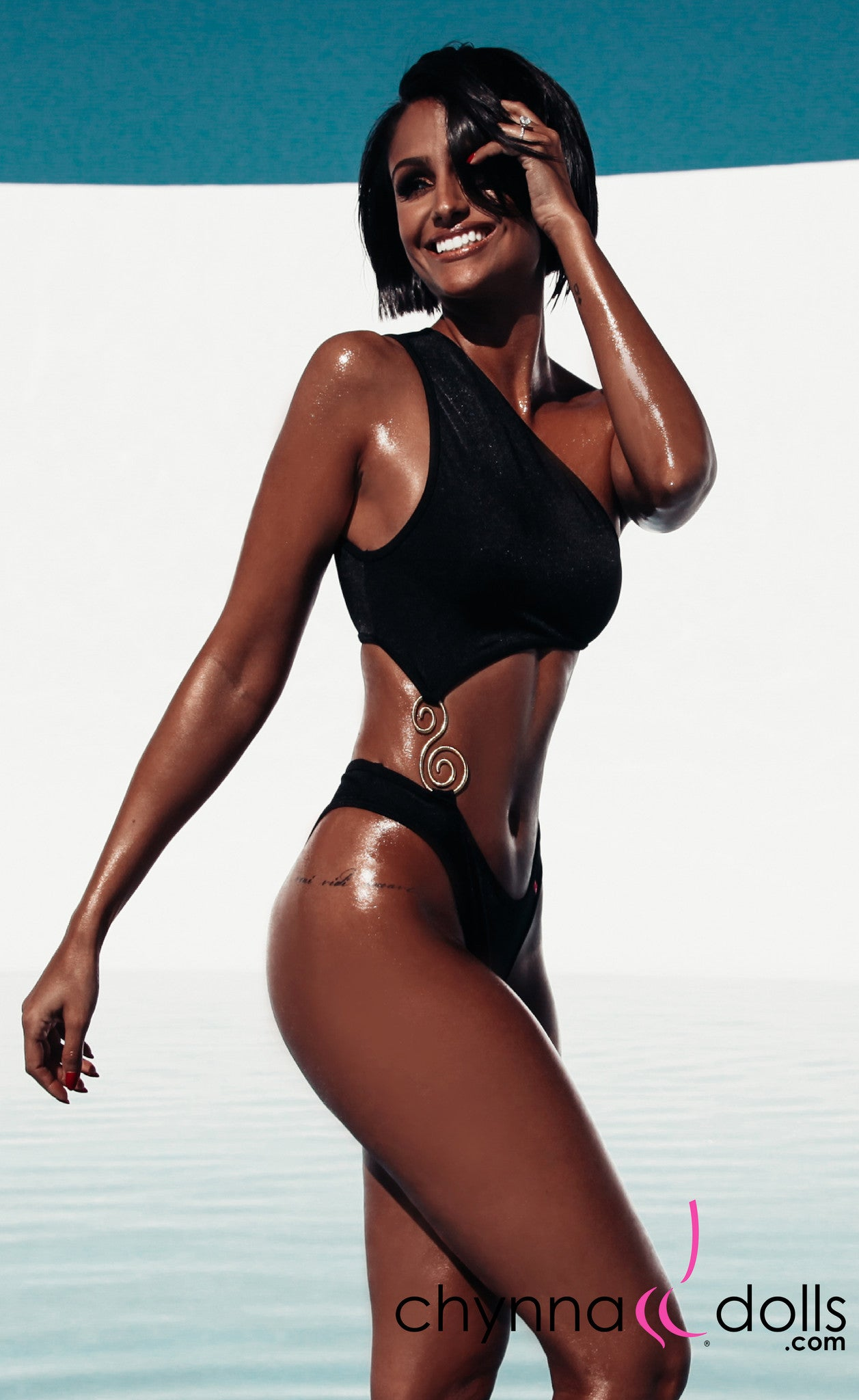 Mandi: Asymmetric Monokini with S-Shape Brooch in Black - Chynna Dolls Swimwear