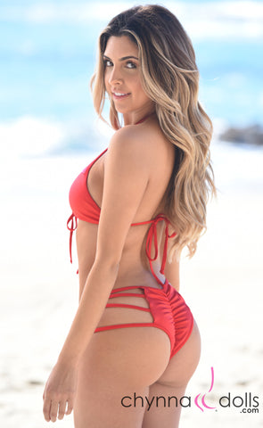Madison: Lace Up Halter Bathing Suit in Solid Red - Chynna Dolls Swimwear