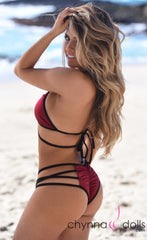 Madison: Lace Up Halter Bikini in Wine with Black Trim