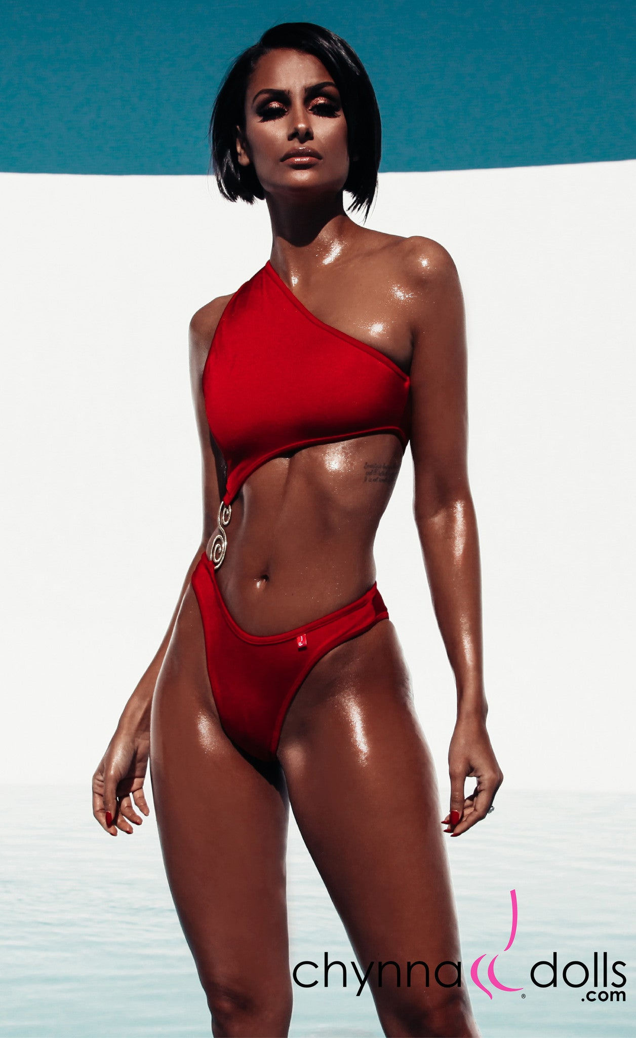 Mandi: Asymmetric Monokini with S-Shape Brooch Detail in Red - Chynna Dolls