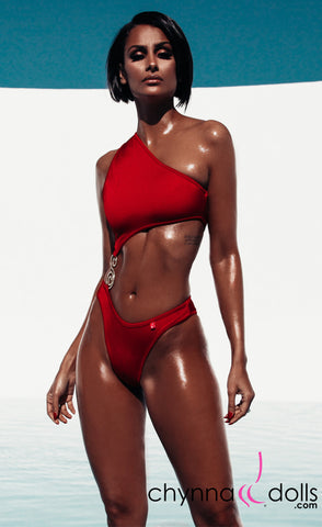 Mandi: Asymmetric Monokini with S-Shape Broach Detail in Red