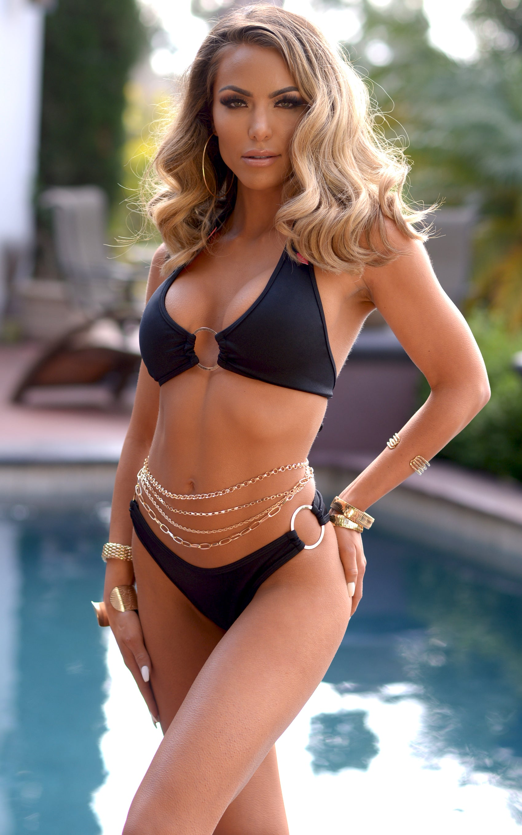 Napa: Halter Loop High Cut Bikini in Black - Chynna Dolls Swimwear