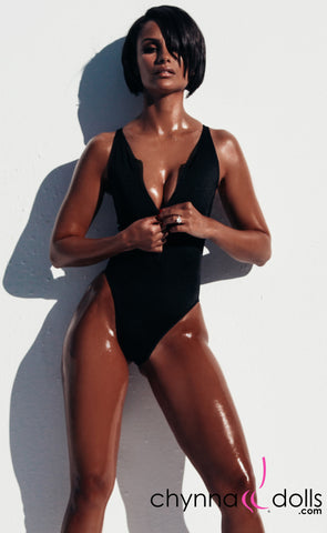 Naz: Zip Front One Piece in Black - Chynna Dolls Swimwear