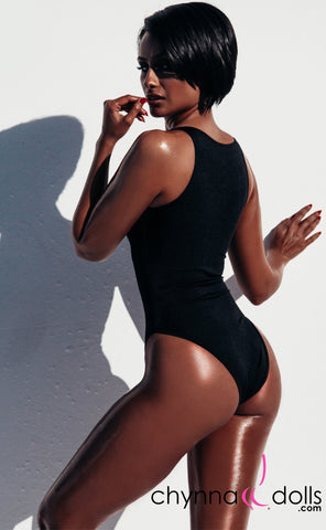 Naz: Zip Front One Piece in Black