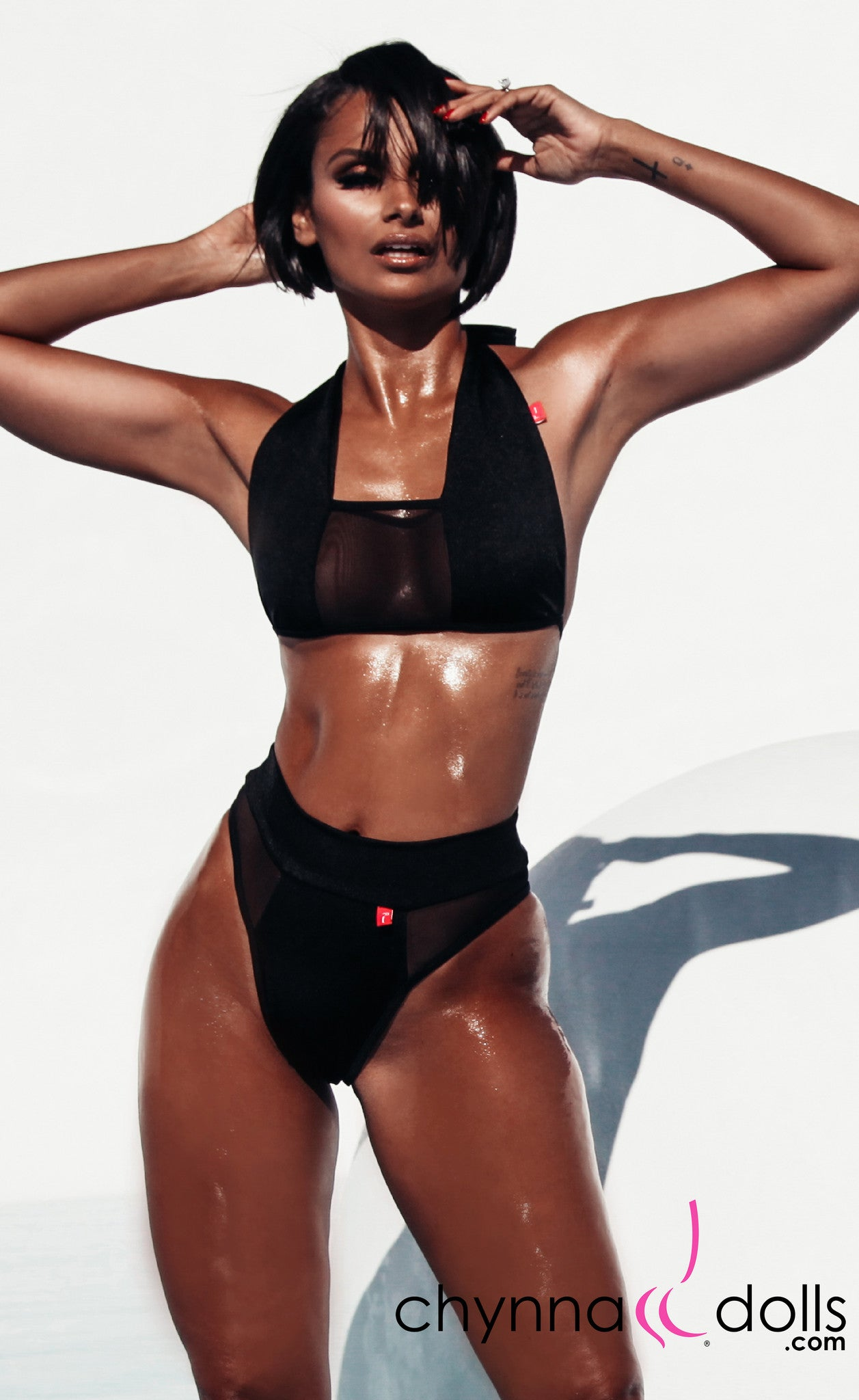 Nina: High Cut Swimsuit with Mesh Details in Black