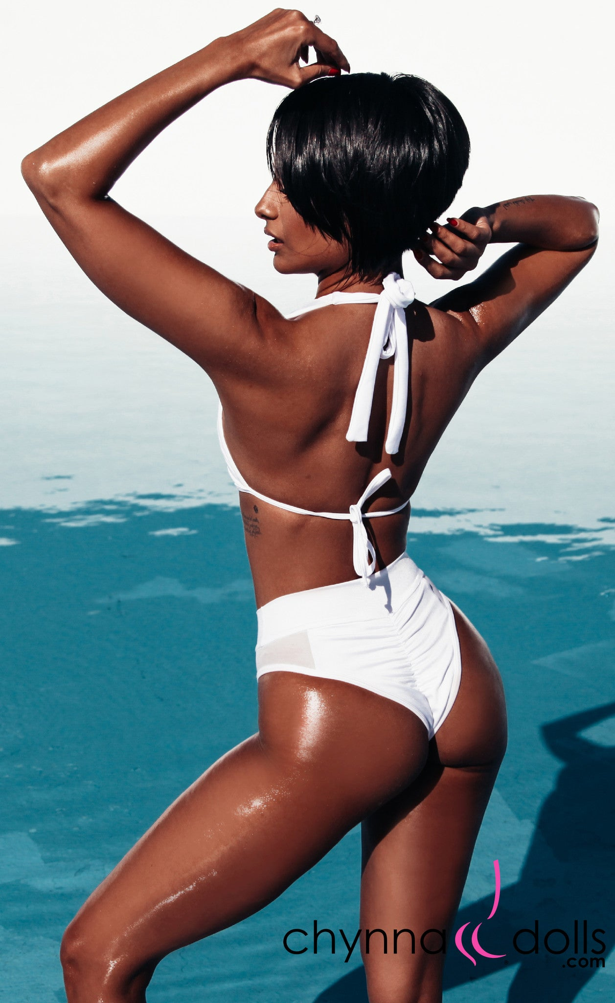 Nina: High Cut Swimsuit with Mesh Details in White