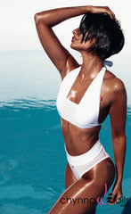Nina: High Cut Swimsuit with Mesh Details in White - Chynna Dolls Swimwear