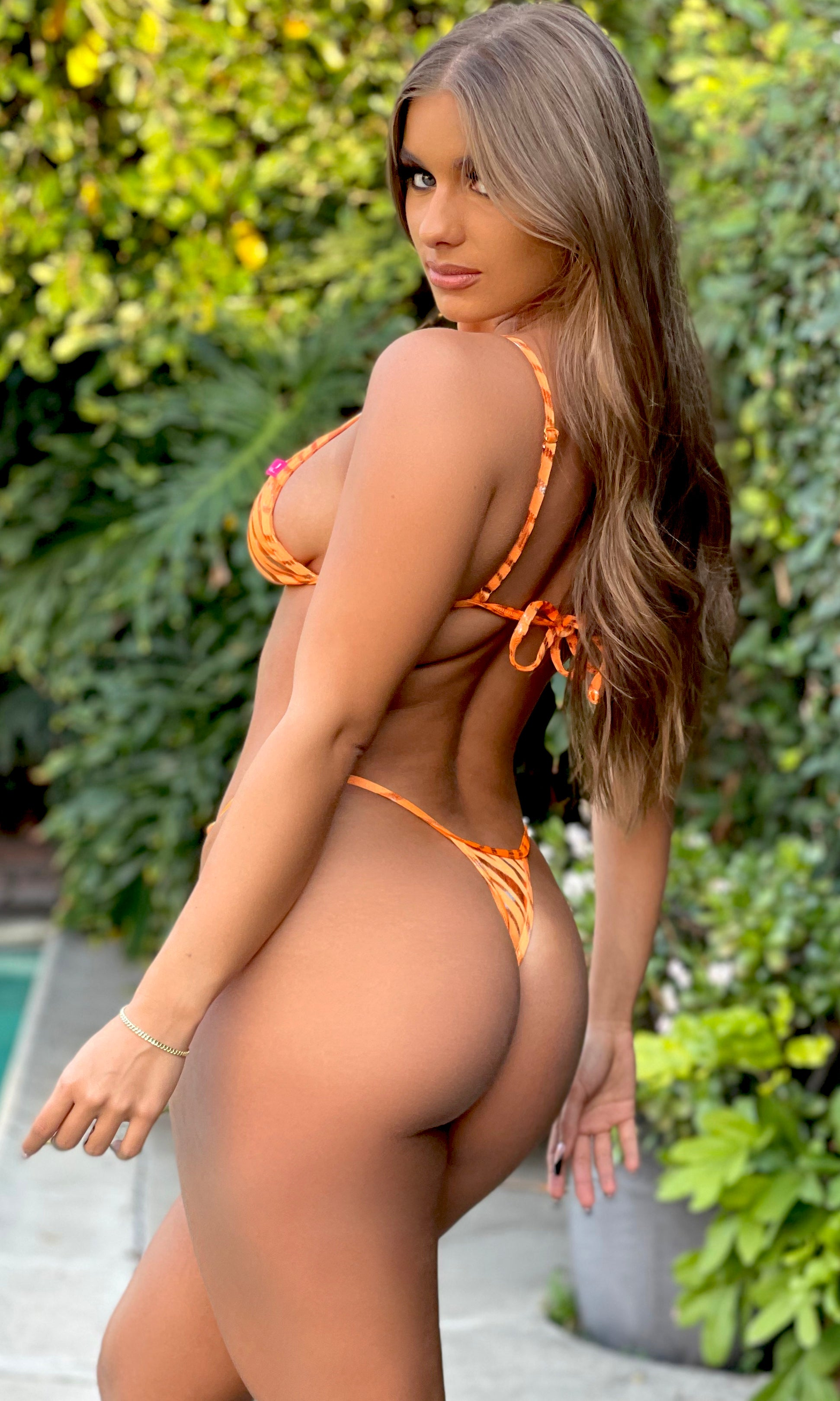 Rio: Thong Bikini in Orange Zebra Metallic - Chynna Dolls