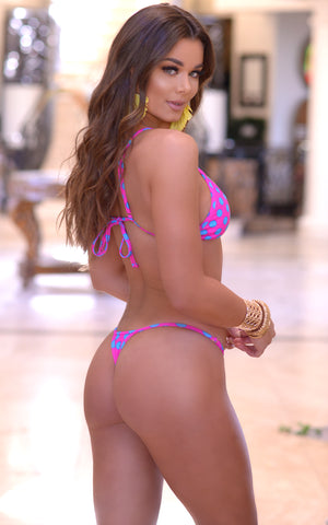 Rio: T-Back Thong Swimsuit in Pink/Blue Polka Dots - Chynna Dolls Swimwear