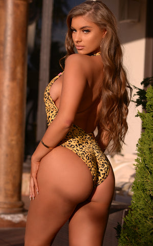 Seoul: Deep Plunge One Piece w/ Gold Loops in Cheetah - Chynna Dolls Swimwear