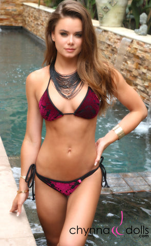 PERTH: Velvet Burnout String Bathing Suit in Burgundy Velvet x Black