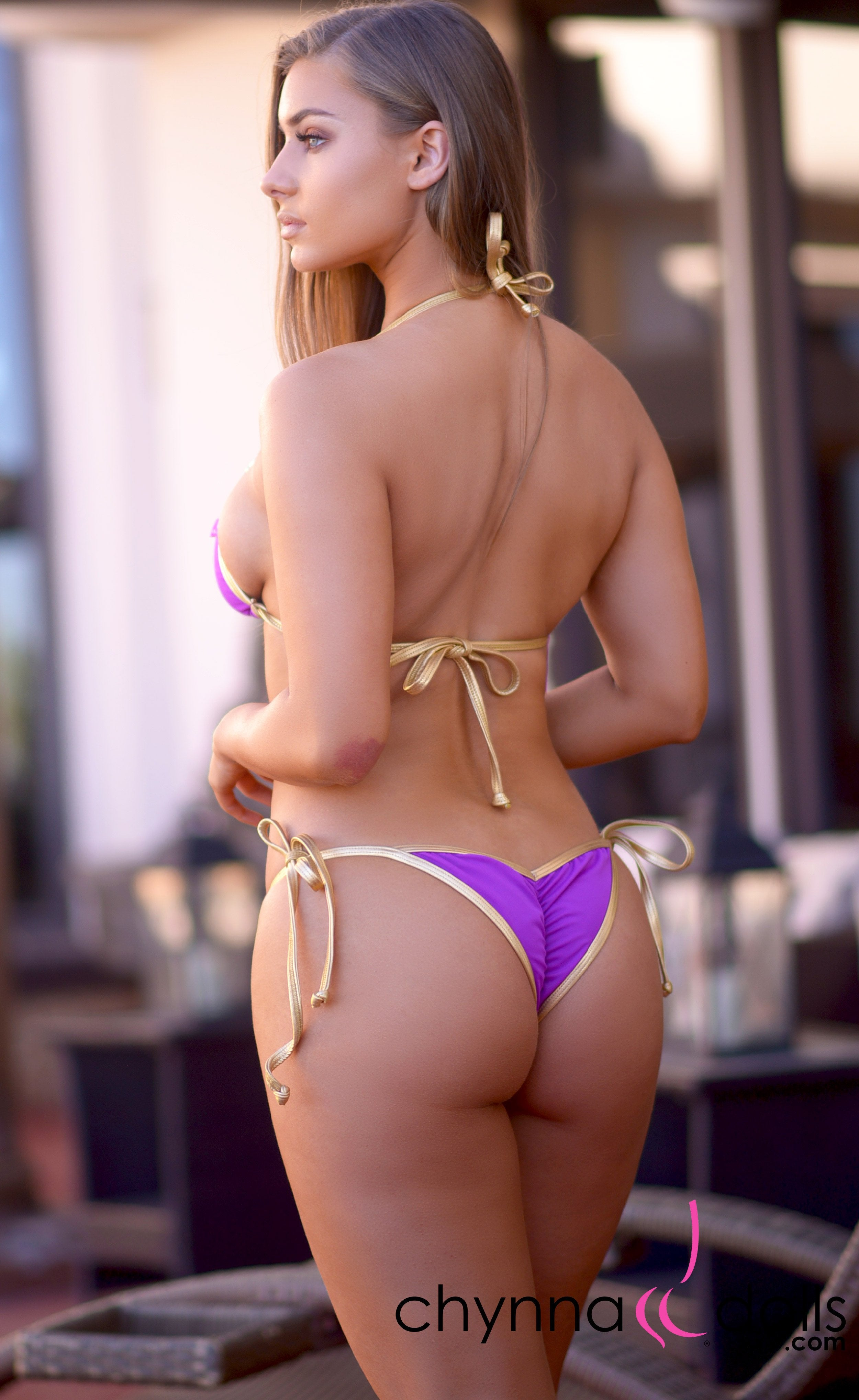 Madeira: Cheetah Brooch Bikini in Purple - Chynna Dolls Swimwear