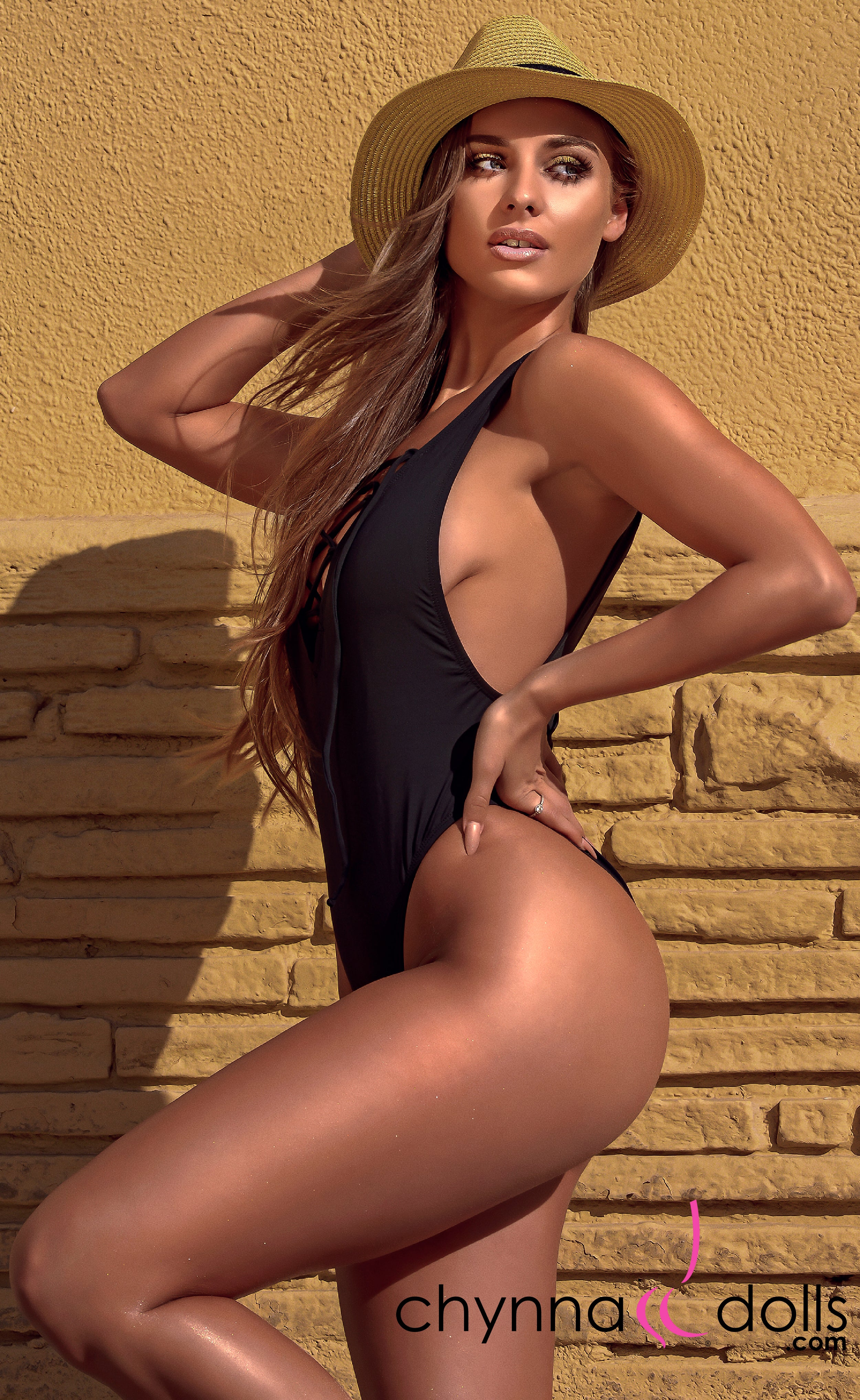 CROATIA: High Cut One Piece Bathing Suit w/ Lace Up Front in Black - Chynna Dolls Swimwear