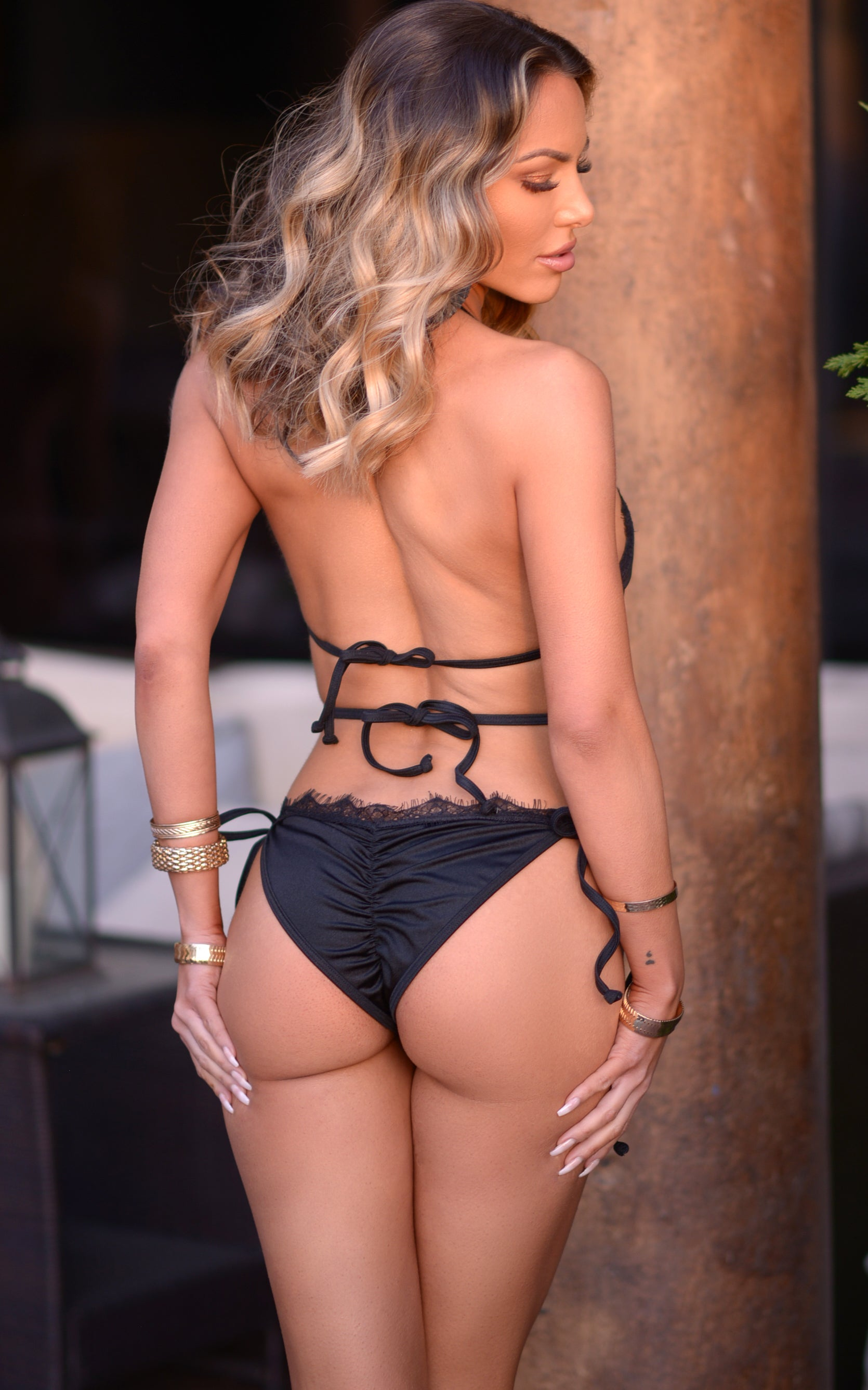 Amara: String Bikini in Black/Black Eyelash Lace - Chynna Dolls Swimwear