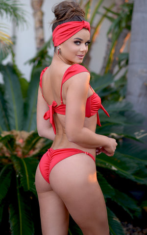Antalya: Bandeau Bikini With Removable Shoulder Sleeves in Red - Chynna Dolls Swimwear