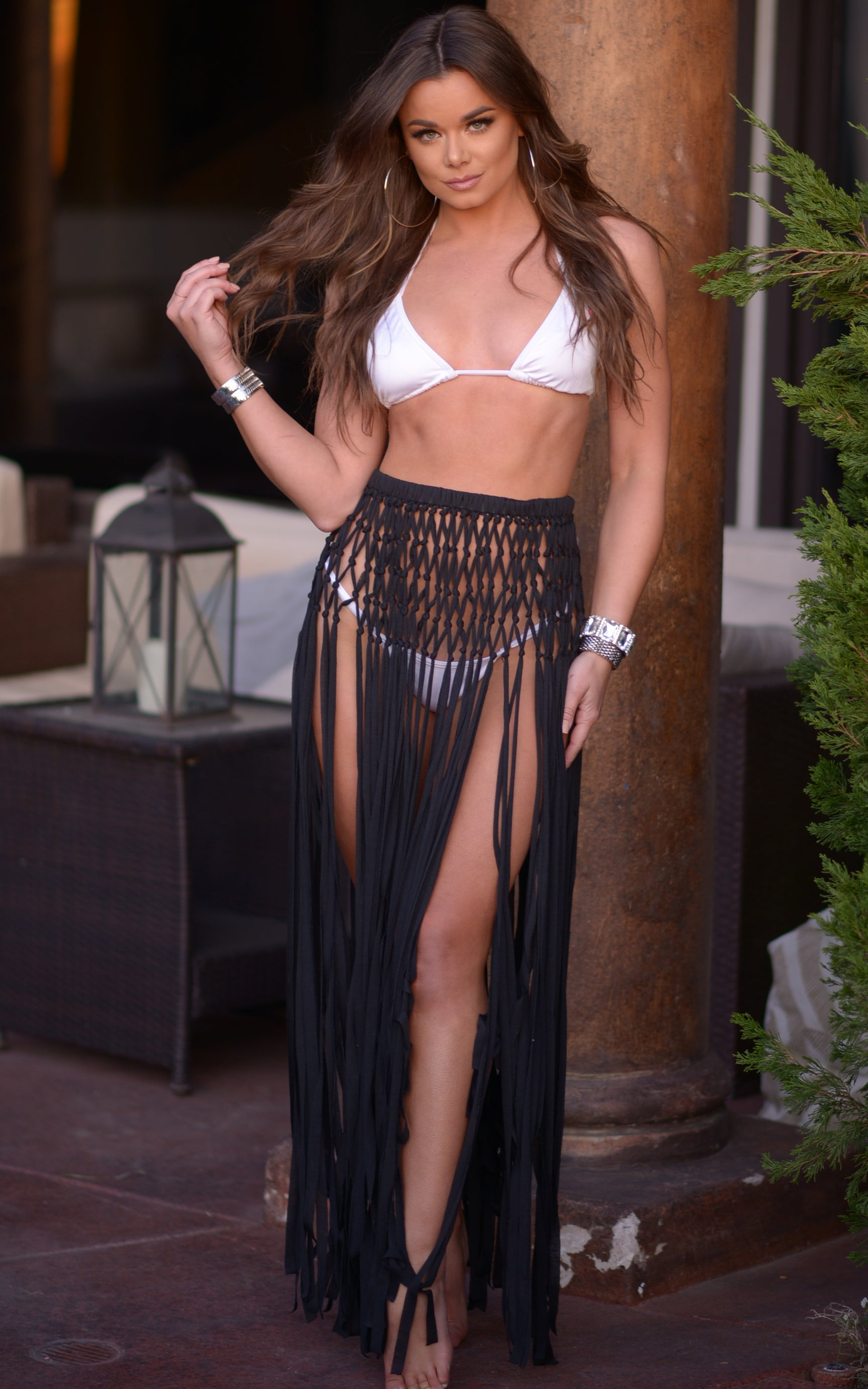 Bexley: Crochet Fringe Skirt Coverup in Black - Chynna Dolls Swimwear