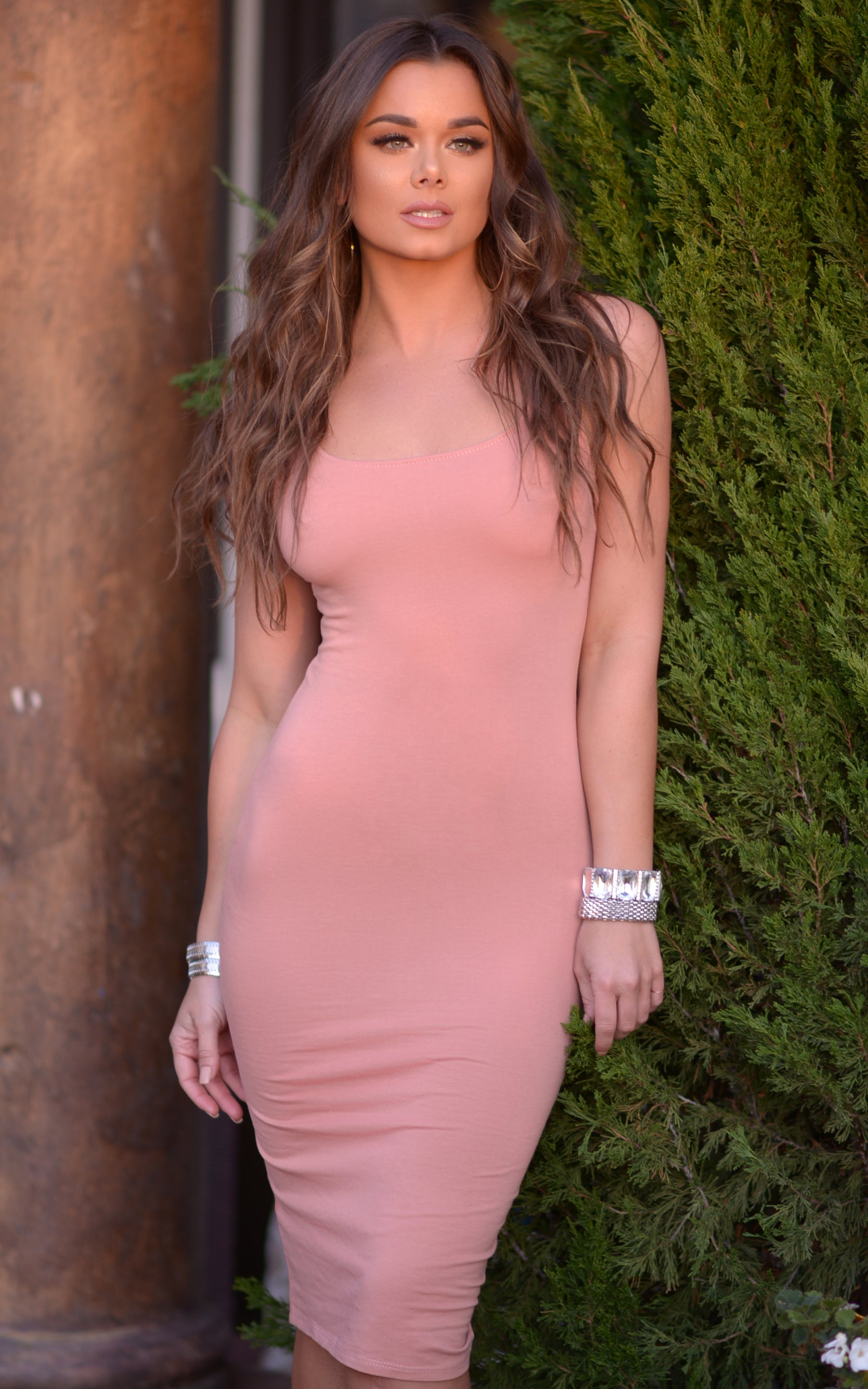Claire: Bodycon Tank Dress with Slit in Blush - Chynna Dolls Swimwear
