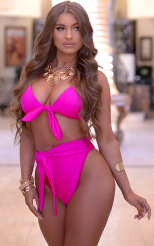 Cabana: High Waisted Tie Bikini in Magenta - Chynna Dolls Swimwear