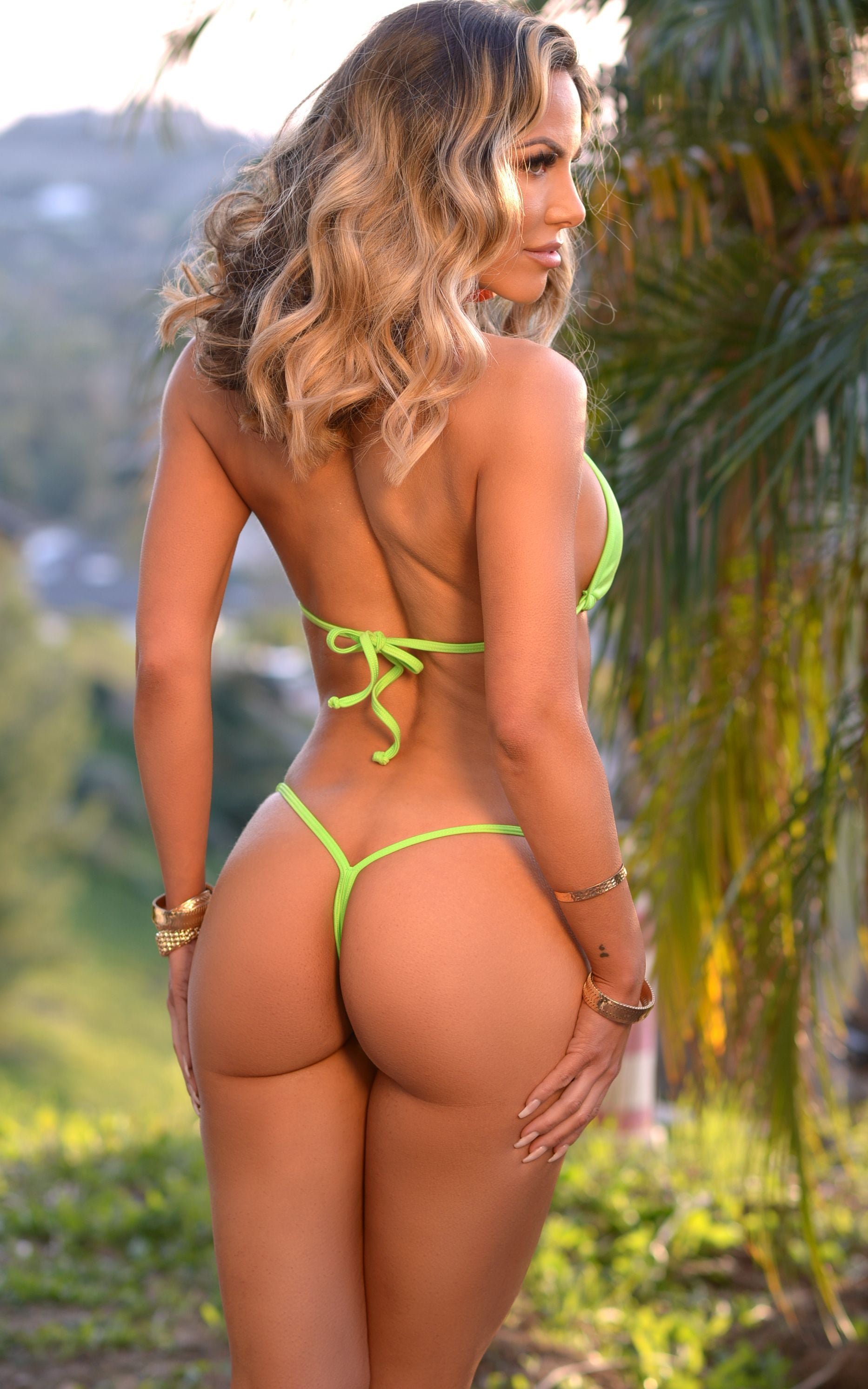 Coco: Y-Back G-String Thong Bikini in Solid Neon Green - Chynna Dolls Swimwear