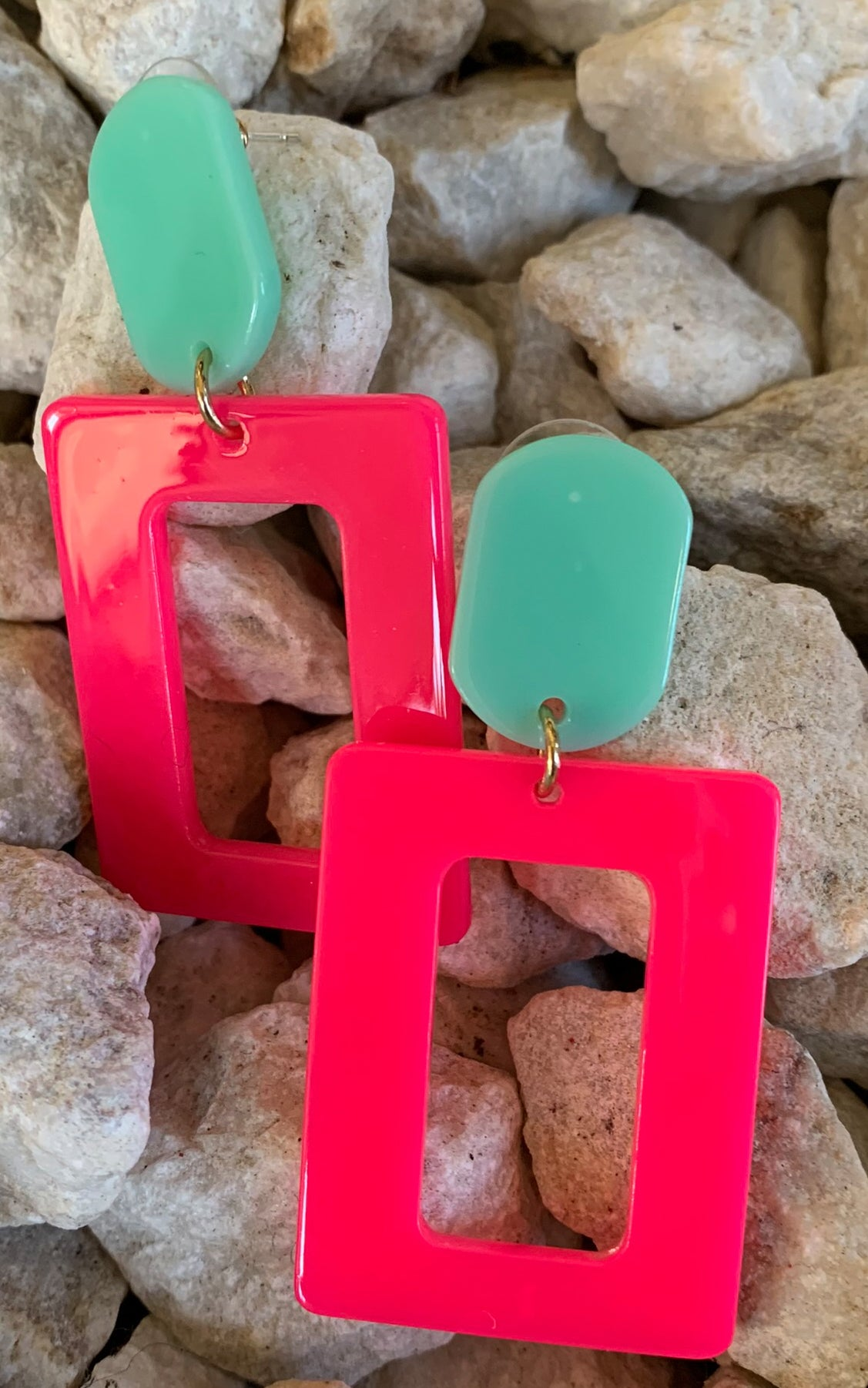 Earring: Neon Pink and Blue Block - Chynna Dolls Swimwear