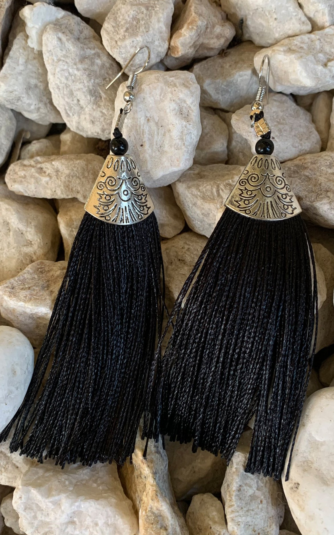 Earring: Black Tassel - Chynna Dolls Swimwear