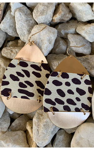 Earring: Animal Print/ Gold Color Block - Chynna Dolls Swimwear