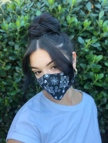 Face Mask: Reversible in Black Bandanna x Black - Chynna Dolls Swimwear