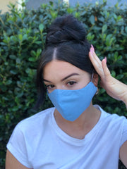 Face Mask: Reversible in Blue Abstract x Sky Blue - Chynna Dolls Swimwear