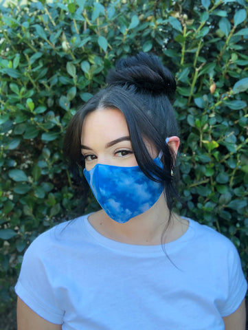 Face Mask: Reversible in Clouds x Turquoise - Chynna Dolls Swimwear