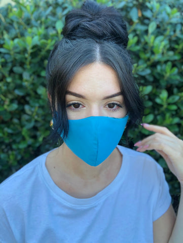 Face Mask: Reversible in Peacock x Aqua Blue - Chynna Dolls Swimwear