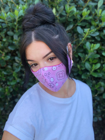 Face Mask: Reversible in Pink Bandanna x Fuchsia - Chynna Dolls Swimwear
