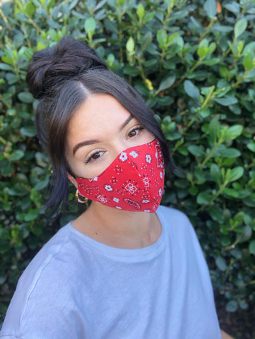 Face Mask: Reversible in Red Bandanna x Black - Chynna Dolls Swimwear