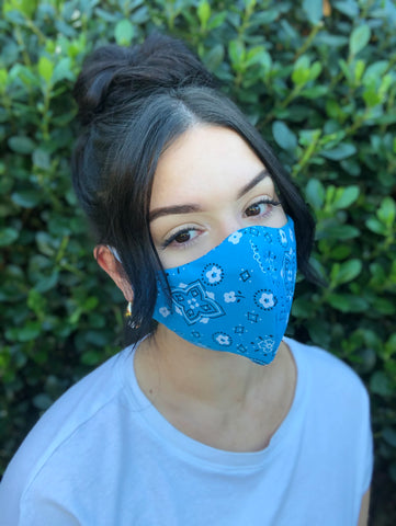 Face Mask: Reversible in Turquoise Bandanna x Turquoise - Chynna Dolls Swimwear