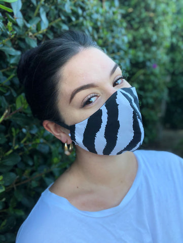 Face Mask: Reversible in Zebra x Black - Chynna Dolls Swimwear